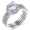 14K White Gold 3 Band Halo CZ Engagement Ring Set
