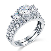 14K White Gold Round Three Stone CZ Wedding Ring Set