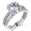 14K White Gold Round Cut CZ Wedding Ring Set