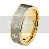Celtic Cross Comfort Fit Gold Plated Cobalt Free Tungsten Wedding Band (Size 5-15)
