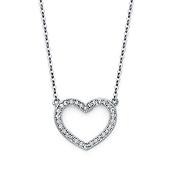 14K White Gold CZ Open Heart Pendant Necklace