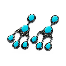 DecoSkye Black CZ Turquise Silver Chandelier Earrings