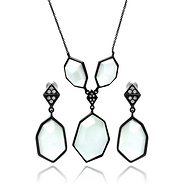 DecoSkye Large White CZ Art Deco Style Black Necklace Set
