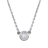 Moissanite Sterling Silver Solitaire Necklace