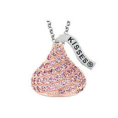 HERSHEY'S KISSES Pink CZ Necklace in Sterling Silver