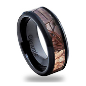 8mm Black Ceramic Forest Foliage Camo Wedding Ring
