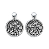 Filigree Circle Two Tone Sterling Silver Drop Earrings