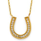 14K Yellow Gold Floating CZ Horseshoe Necklace