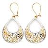 Medium Crescent Filigree 14K Two Tone Gold Drop Earrings