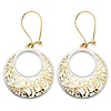 Crescent Filigree Cut-Out Circle Drop Earrings in 14K Two Tone Gold
