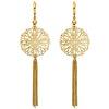 Long Filigree Tassel Earrings in 14K Yellow Gold 87mm