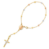 3mm 14K Tri Color Gold Rosary Bracelet with Our Lady of Guadalupe Medal