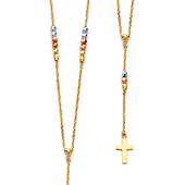 14K Tri-Color Gold 2mm Bead Rope Protestant Rosary Necklace with Cross