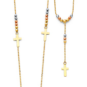 14K Tri-Color Gold 2mm Bead Protestant Rosary Necklace with Floating Crosses