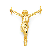 Floating 14K Yellow Gold Crucifix Pendant - Medium 28x32mm