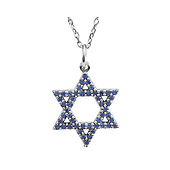 14K White Gold Blue Sapphire Star of David Charm Necklace