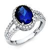 14K White Gold Split Shank Halo Oval Blue CZ Promise Engagement Ring