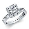 Halo Princess Cut CZ Wedding Ring Set in 14K White Gold
