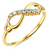 Sparkling Infinity 14K Yellow Gold Semi-Lined CZ Promise Ring