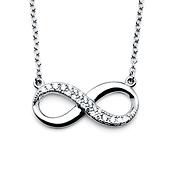 Sterling Silver Semi-Lined CZ Floating Infinity Necklace