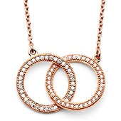 Shimmering CZ Infinity Ring Necklace in Rose Gold Over Sterling Silver