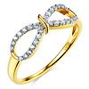 Flourish Round CZ Infinity Ring in Solid 14K Yellow Gold - Women