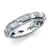 Spinning Our Lady of Guadalupe Prayer Rosario Rosary Ring - Sterling Silver Rhodium