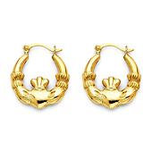 Small Claddagh Hoop Earrings - 14K Yellow Gold
