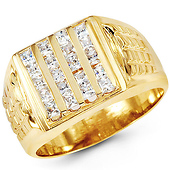 14K Yellow Gold Princess CZ Ring