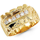 Men's Large CZ 14K Yellow Gold Nugget Ring