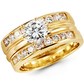 14K Yellow Gold Three Piece CZ Engagement Wedding Ring Set