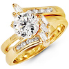 14K Yellow Gold Fancy Round & Baguette  CZ Wedding Ring Set