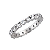 14K White Gold Prong Cubic Zirconia Eternity Ring 2mm