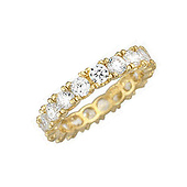 14K Yellow Gold 4-Prong Round Cubic Zirconia CZ Eternity Ring Band