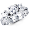 14K White Gold Three Stone CZ Wedding Ring Set