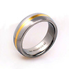 18K Plated Stripe Titanium Wedding Ring