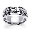 9mm Scroll Art Deco 14K White Gold Men's Wedding Band