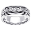 14k White Gold 7.0mm Ivy Carved Wedding Band