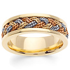 7mm Men's 14K Tri-Color Gold Rope Braided Wedding Band