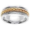 7mm 14K Two Tone Gold Wedding Band with Yellow Braid & White Rope