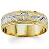 14K Two Tone Gold 5.5mm Christian Wedding Band