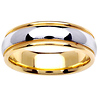 6.5mm Classic Dome Milgrain 14K Two Tone Gold Wedding Ring