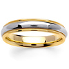 4.5mm Domed Milgrain 14K Two Tone Gold Wedding Ring
