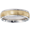 14k Two Tone Brush Finish Wedding Band
