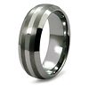 Domed Stripe Textured Tungsten Wedding Band