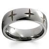 Cross Engraved Pattern Tungsten Christian Wedding Ring