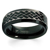 Weave Pattern Laser Engraved Black Tungsten Band