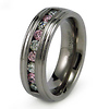 8mm Pink and White CZ Titanium Band
