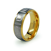 Carved Titanium and Gold Plated Wedding Band