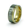 Three Stone CZ Gold Plated Titanium Wedding Ring